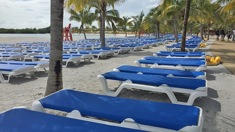 There are 2,500 loungers on the beach at Harvest Caye.