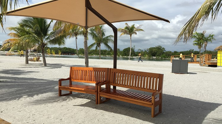 Shade from the sun is an element in the design scheme on Harvest Caye.