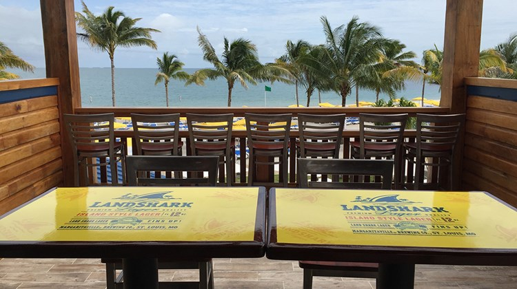 A view from the second story terrace of the LandShark Bar & Grill on Harvest Caye.