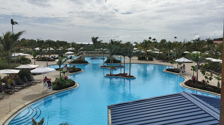 Harvest Caye has a 15,000-square-foot swimming pool.