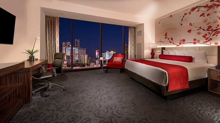 A king room at Lucky Dragon Hotel & Casino.