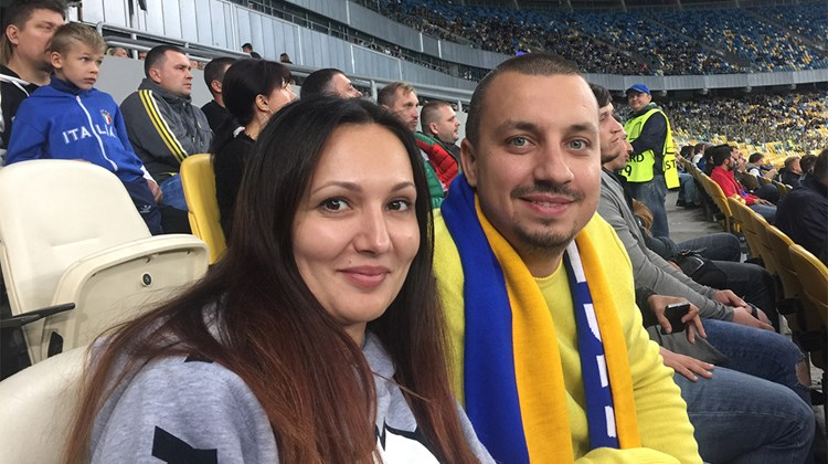 Julia Kulik and Aleksandr Skrypka, owners of receptive operator JC Travel, at a Kiev FC Dynamo soccer game.<br /><br /><strong>Photo Credit: Arnie Weissmann</strong>