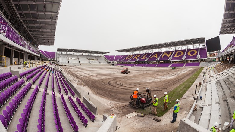 Grass was installed on the new Orlando City SC stadium this month.