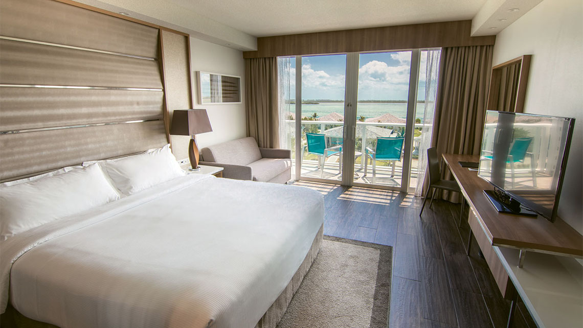 One of the 305 guestrooms at the Hilton at Resorts World Bimini.