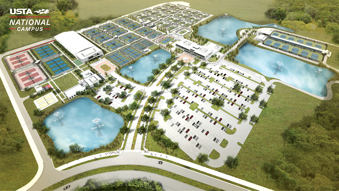 A rendering of the United States Tennis Association's new National Campus in Lake Nona, Fla., which was set to open Jan. 5.