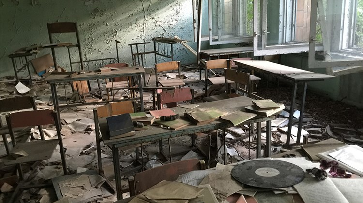 School&#39;s out, forever. A Pripyat classroom, its educational material strewn about.<br /><br /><strong>Photo Credit: Arnie Weissmann</strong>