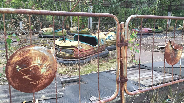 Bumper cars, never driven by children, lay rusting in Pripyat&#39;s amusement park, which was scheduled to open four days after the nuclear accident.<br /><br /><strong>Photo Credit: Arnie Weissmann</strong>