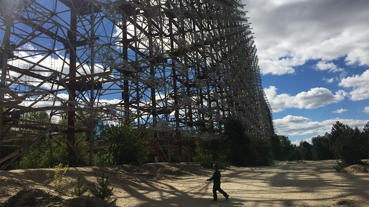 A once-secret Soviet military radar installation, 500 feet high and half a mile wide, still stands near Chernobyl, its metal too radioactive to be salvaged.<br /><br /><strong>Photo Credit: Arnie Weissmann</strong>