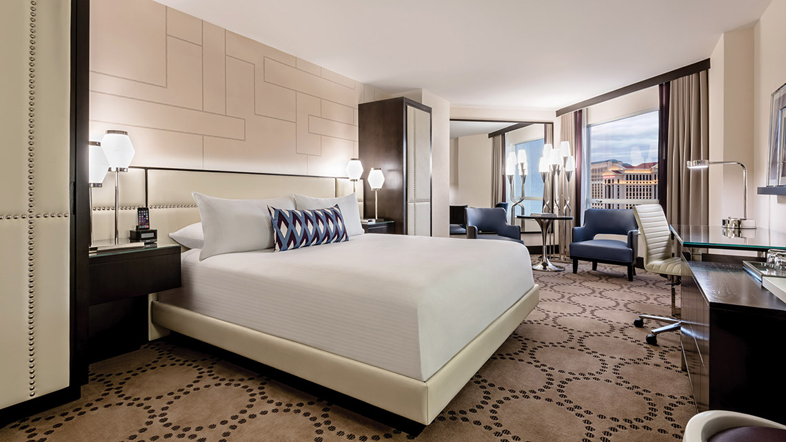 A king guestroom in the Valley Tower at Harrah's provides one of the Strip's best hotel values. Photo Credit: Claudio Rangel