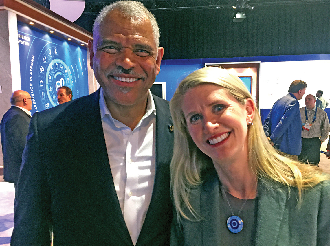 Carnival Corp. CEO Arnold Donald with Princess Cruises president Jan Swartz at CES in Las Vegas. Photo Credit: Arnie Weissmann