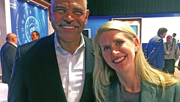 Carnival Corp. CEO Arnold Donald with Princess Cruises president Jan Swartz at CES in Las Vegas.