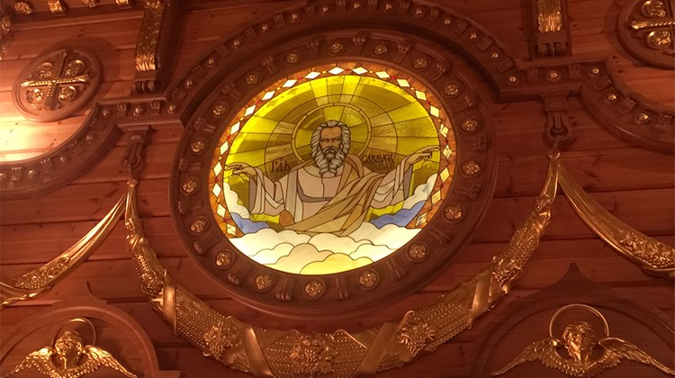 Former president Yanukovych had his own likeness portrayed as the face of God in a stained glass window in the chapel.<br /><br /><strong>Photo Credit: Arnie Weissmann</strong>