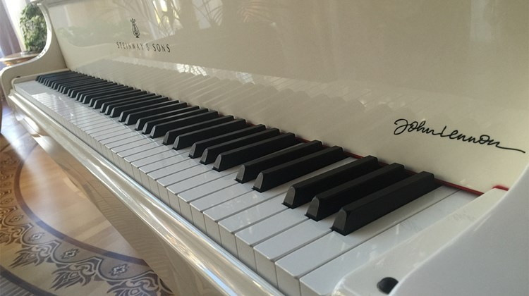 Yanukovych&#39;s piano was a limited edition white Steinway grand signed by John Lennon, one of only 25 made. This one is numbered 2/25; no. 1 belonged to Libya&#39;s deposed dictator Muhammar Qaddafi, and was destroyed when his residence was looted and vandalized, according to Oliynyk.<br /><br /><strong>Photo Credit: Arnie Weissmann</strong>