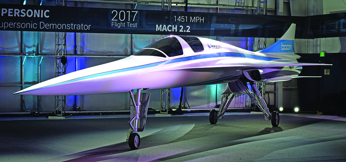 The Boom XB-1 prototype was unveiled in November, one-third the size of the planned supersonic jet. The XB-1 is to begin subsonic testing in late 2017.