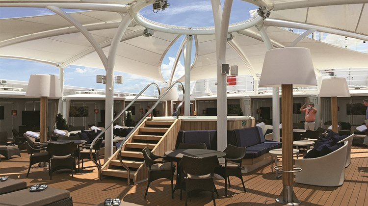 The Retreat is an area of private cabanas for rent on the Seabourn Encore.