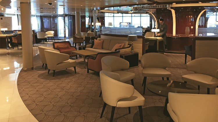 Seabourn Square has been redesigned on the Encore to be more open. Its shape is now circular.