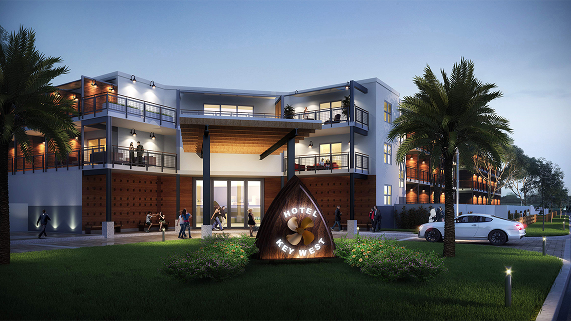 A rendering of Hotel Key West at Stock Island Marina Village, expected to open by early March.