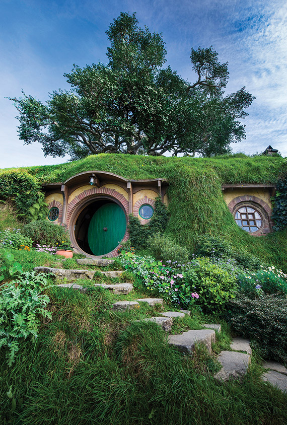 Bilbo Baggins' house on the Hobbiton Movie Set, which is two hours from Auckland.
