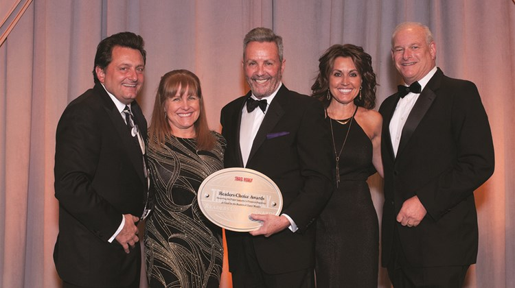 Kevin Froemming and Karen Callahan of Playa Hotels and Resorts, Travel Weekly's Bruce Shulman and Playa's Andrea Wright and Howard Tanenbaum.