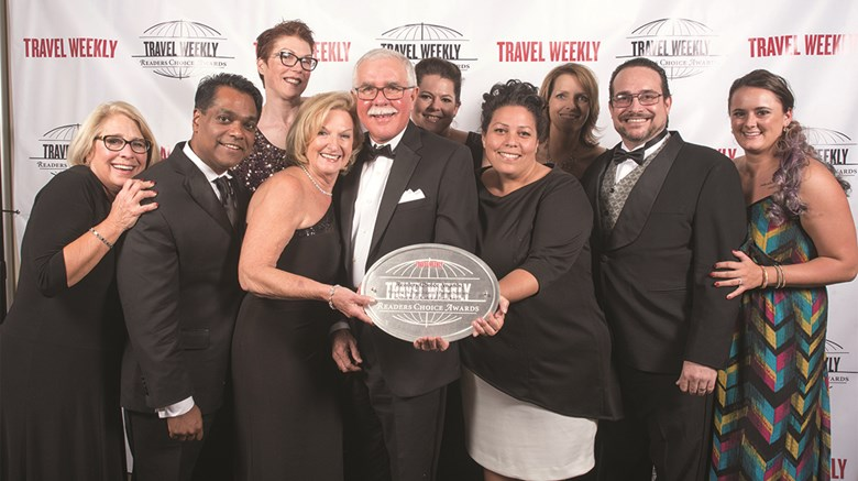 Karisma Hotels & Resorts employees with top-producing agents: Mary Jo Nelson of Travel Partners, Thomas Varghese of Travel Tom, Pamela Walker of I Do Weddings Away, Tina Hearn of Paradise Weddings and Travel, Mandy Chomat of Karisma, Sarah Bonsall of Sunset Travel, Vanessa Martinez of Centre Holidays, Shelli Nornes of Romance Travel Group, Daniel Scheiman of Karisma and Emily Bertsch of VIP Vacations.