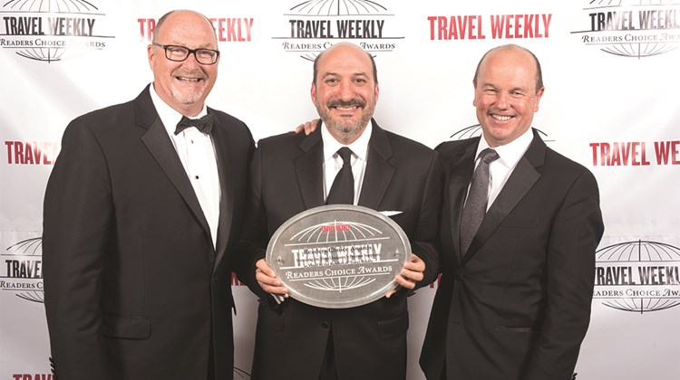 Charles Mest and Scott Wiseman of Travel Impressions and Peter Bowler of Apple Leisure Group.