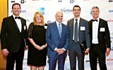 Tourism Cares Hearts of Travel Awards recipients, from left: Keith Sproule, executive director, Abercrombie & Kent; Diane O'Dell, vice president of community relations, Universal Orlando Resort; Jonathan Tisch, co-chairman of the board of Loews Corp. and chairman of Loews Hotels; and Afar Media co-founders Joe Diaz, chief product officer, and Greg Sullivan, CEO.