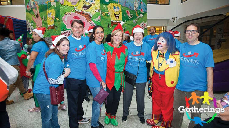 Among those enjoying the festivities at Protravel International's Children's Holiday Party in New York were Jill Lustigman, luxury travel adviser; Andy Pesky, senior vice president of leisure sales and marketing; Michele Delgado, senior director of branch operations/account management, Eastern Region; Brenda Horgan, coordinator of branch operations; Elaine Pesky, luxury travel adviser; Arlene Feen, luxury travel adviser; and Dino Triantafillou, luxury Italy specialist.