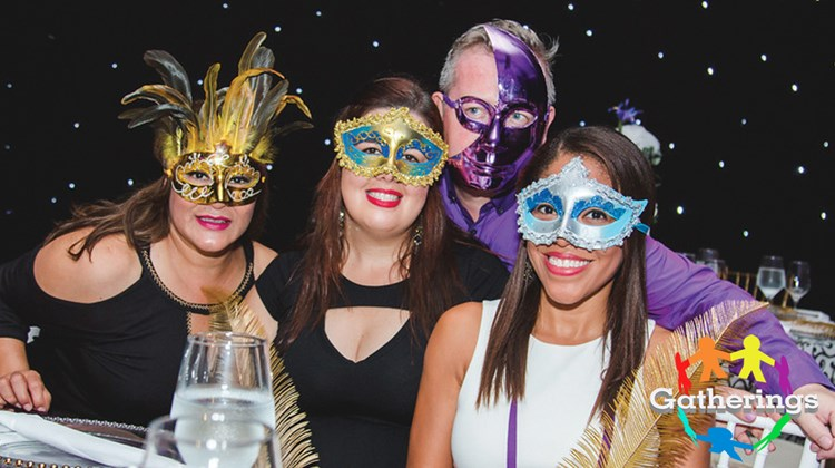 The Incentives and Meetings Expo, hosted by the AMResorts Meetings & Incentives team and Amstar DMC at Breathless Riviera Cancun Resort & Spa, concluded with a Venetian Feast masquerade dinner. Among the masked revelers were, from left, Veronica Guzman, director of sales, Amstar Los Cabos; Beatriz Llerena, group sales manager, Secrets Cap Cana; Mark Jordan, director of sales, Amstar Punta Cana; and Grisel Cordones, group sales manager, Secrets Montego Bay.