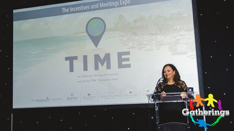 AMResorts' corporate director of groups for Southeast and Canada, Violeta Sales, closes the conference during the Incentives and Meetings Expo's farewell dinner at Breathless Riviera Cancun Resort & Spa.