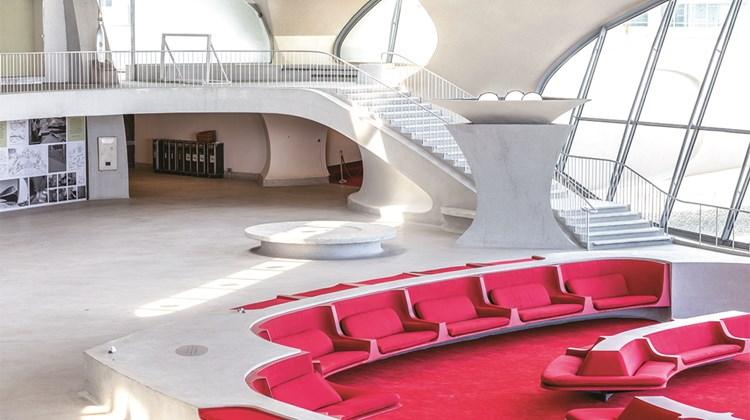 The sunken lounge of the TWA Flight Center will be a centerpiece of the hotel.