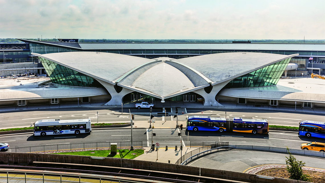 The wing-shaped TWA Flight Center at JFK, designed by Finnish architect Eero Saarinen, is said to be devoid of right angles. Photo Credit: Max Touhey