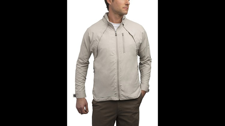 The multifaceted Tropiformer Jacket from Scottevest boasts 22 pockets, including those dedicated to carrying eyeglasses (two), a digital camera, a digital notebook (with built-in USB/Bluetooth capability), hand warmers (2) and change (2). Machine-washable, water-resistant and light weight, the jacket quickly becomes a vest with the detachment of its magnetically attached sleeves. This garment comes equipped with a unique wearable technology that enables you to wire headphones and power cables tangle-free through specially designed channels.