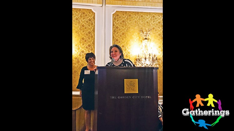 Lisa Benzakein, left, director for Protravel International's Syosset and Woodmere locations, and Gail Grimmett, president of Protravel, address attendees at the company's Autumn Escape III at the Garden City Hotel's Grand Ballroom on New York's Long Island Nov. 15. The agency invited 400 clients from the area, who learned about the latest innovations and promotions in luxury travel over food and cocktails.