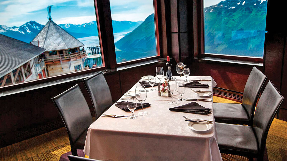 The Seven Glaciers Restaurant is on a mountain perch 2,300 feet above sea level. Photo Credit: Ralph Kristopher