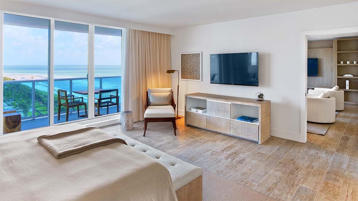 An oceanview bedroom in one of the Retreat Collection suites.