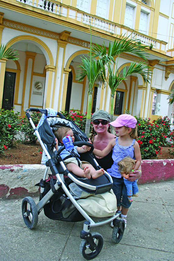 Corinne McDermott, founder of parent travel advice and resource site Have Baby Will Travel, with her children in Cuba.