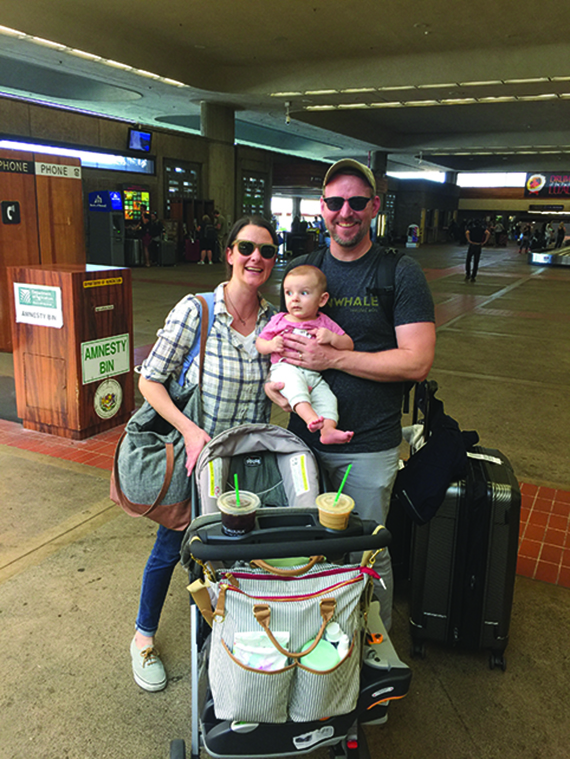 Author Michelle Baran arrives in Maui with her husband, Jonathan, and 6-month-old son, Niko, for the tot's first big trip. They stayed at the Ritz-Carlton in Kapalua and Kukui'ula in Kauai, both of which had baby-friendly amenities. Photo Credit: Provided by Michelle Baran