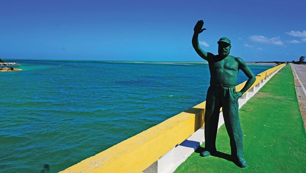 A statue of author Ernest Hemingway in the Cuban Keys, where he famously documented his deep-sea fishing exploits while in Cuba.