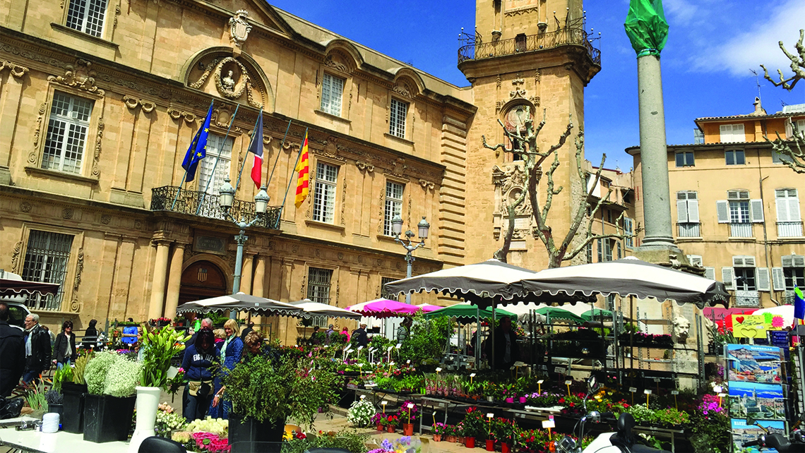 The market in Aix-en-Provence, France, where guests on Oceania Cruises' Culinary Discovery Tours can pick ingredients to be prepared by chefs later. Photo Credit: Jamie Biesiada