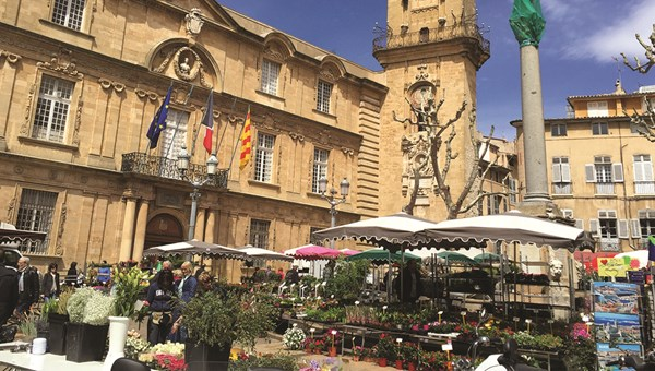 The market in Aix-en-Provence, France, where guests on Oceania Cruises' Culinary Discovery Tours can pick ingredients to be prepared by chefs later.