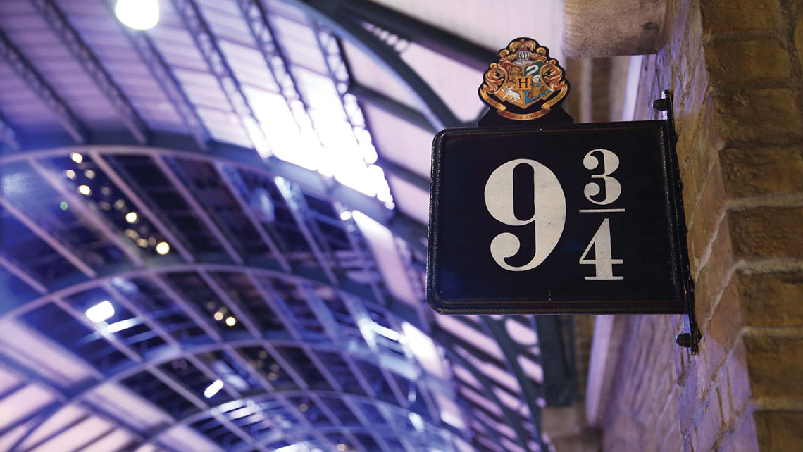 A re-creation of Platform 9 3/4 at the Warner Bros. Studio Tour in Leavesden.