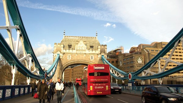 "The Original Tour bus goes to the Tower Bridge. Harry Potter flew past the bridge in ""Harry Potter and the Order of the Phoenix."""