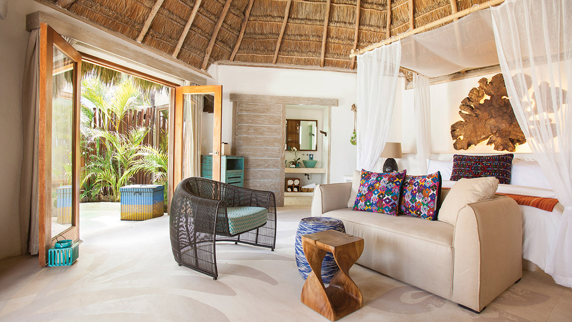 An Oceanfront King Room at Mahekal Playa del Carmen.