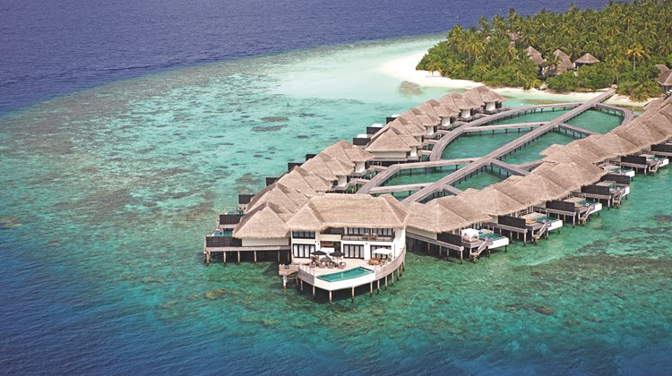 Overwater bungalows, each with a private pool, are especially popular with American and Chinese guests who stay at the Outrigger Konotta Maldives Resort. At the tip of the pier is the 6,458-square-foot, three-bedroom Grand Konotta Villa.<br /><br /><strong>Photo Credit: Courtesy Outrigger Hotels & Resorts</strong>