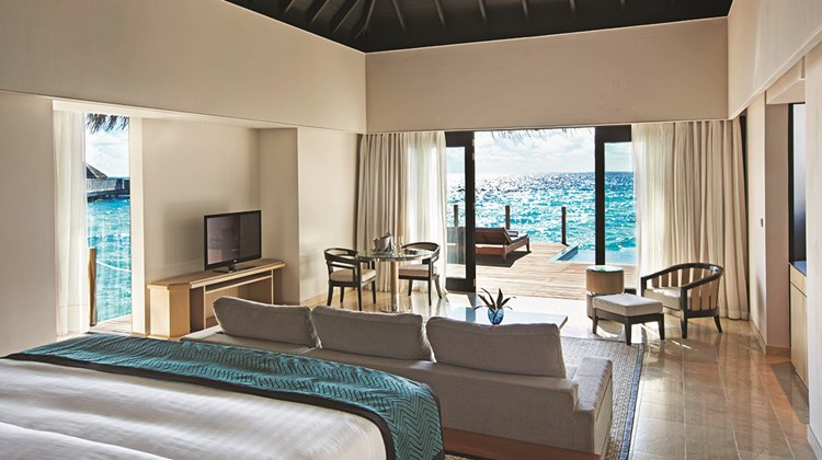 The one- and two-bedroom lagoon villas are smaller but can connect to create a three-bedroom …<br /><br /><strong>Photo Credit: Courtesy Outrigger Hotels & Resorts</strong>