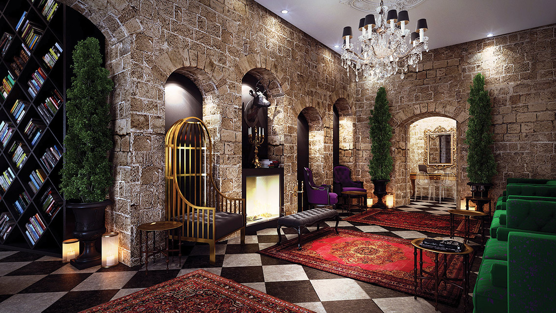 A rendering of the lobby of the Villa Brown Jerusalem hotel, a 24-room property scheduled to open next month.