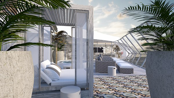 The veranda of the Iconic Suite sits above the wing of the bridge, complete with a Jacuzzi and sun chairs.