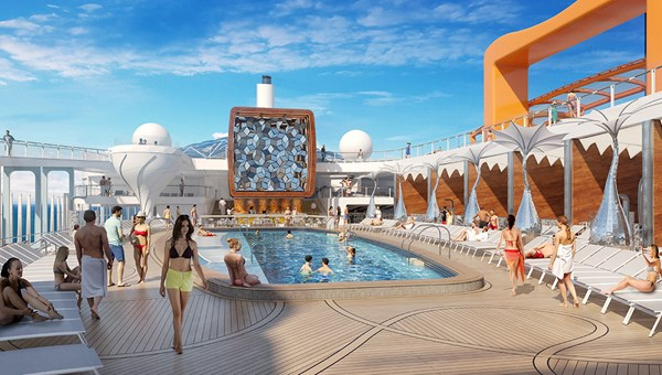 The Celebrity Edge pool deck will feature elevated, tulip-shaped hot tubs and cabanas with 20-foot ceilings.