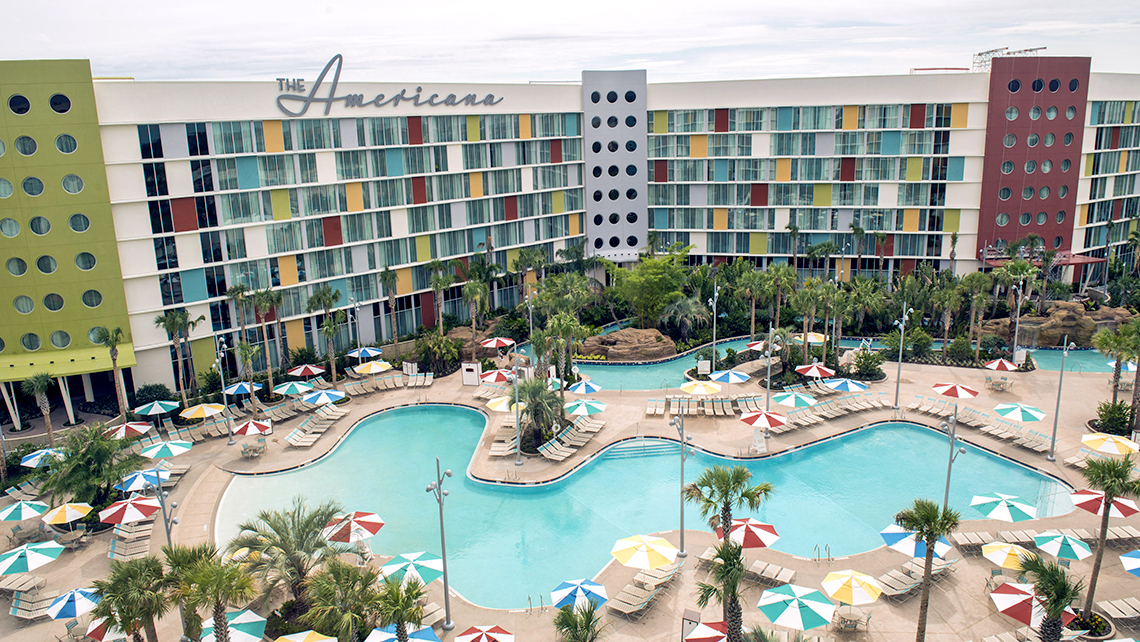 The pool and lazy river at Universal's '50s-style Cabana Bay Beach Resort.