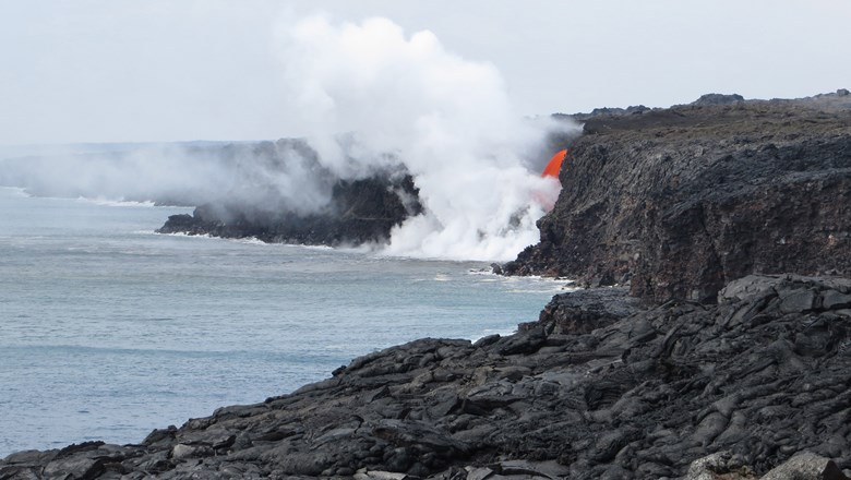 The U.S. Coast Guard has established a safety zone around the Kilauea Volcano lava flow emptying into the Pacific Ocean from the southeast side of Hawaii Island.